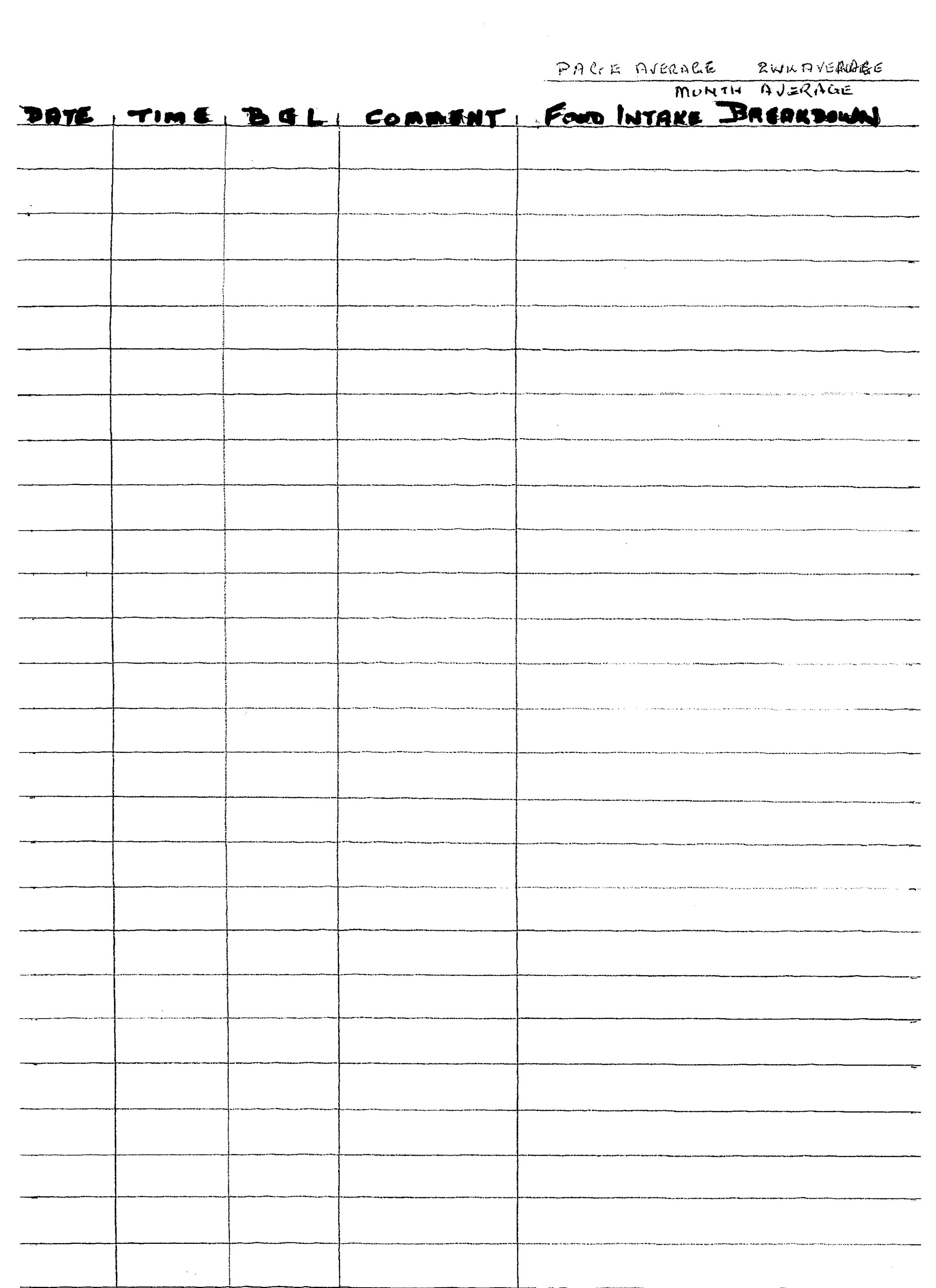 diabetic daily log sheet
